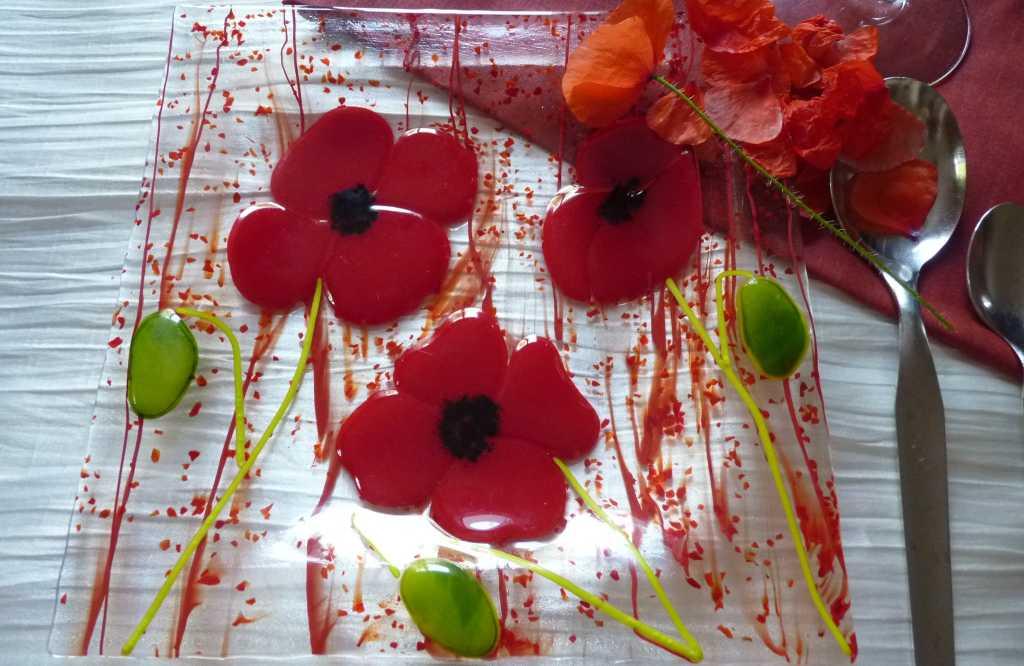 assiette fleurs verre