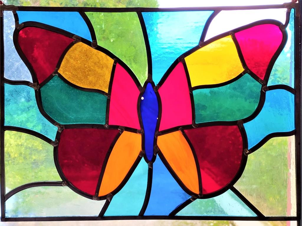 vitrail papillon technique plomb