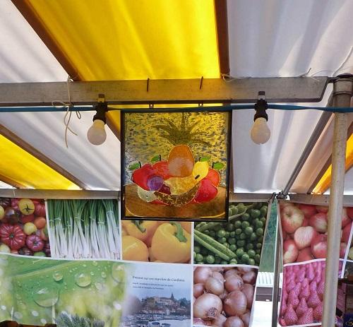 Vitrail panier de fruits