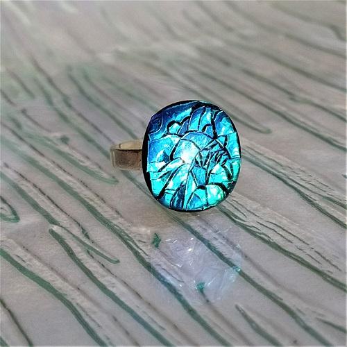Bague en verre bleue turquoise