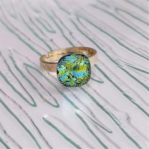 Bague en verre vert et bleu turquoise