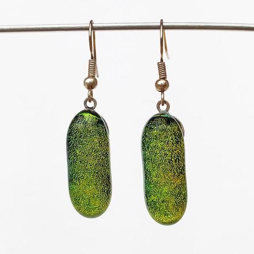 Boucles d'oreilles vertes format crochet