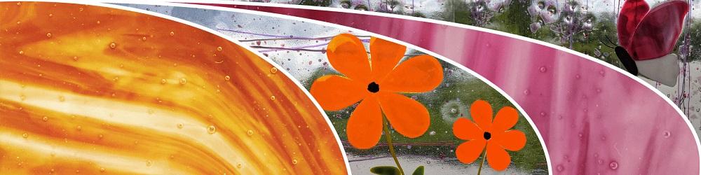 Les couleurs d'un vitrail, orange et violet