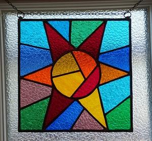 Vitrail Soleil coloré Techique Tiffany